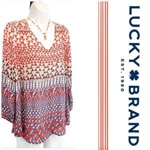 Lucky Brand Silk Peasant Blouse